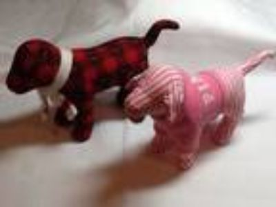 VICTORIA'S SECRET PINK Dogs - Pink Striped & Red/Black Plaid