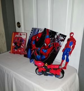 "Spiderman group. 12"" tall figure, transformer motor bike. 2 folders, new writing book with pen. All for $8"