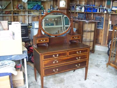 ANTIQUE DRESSER WITH DRAWERS AND MIRROR