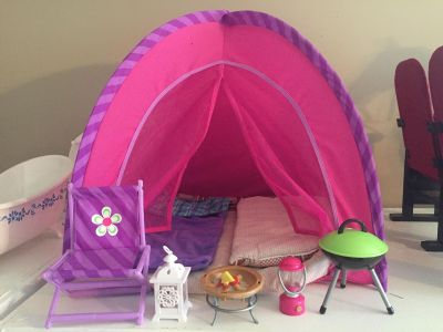 18 doll camping set - tent, chair, sleeping bags etc