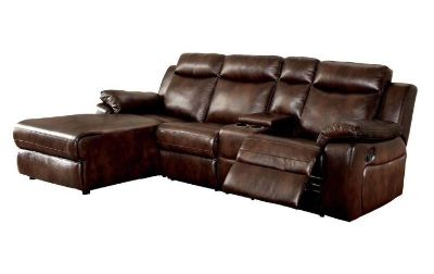 Furniture of America Tristen Reclining L-Shaped Leatherette Sectional
