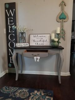 Solid wood refinished sofa table/entry table