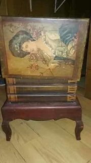 Handmade and hand painted antique or vintage chest and side table.