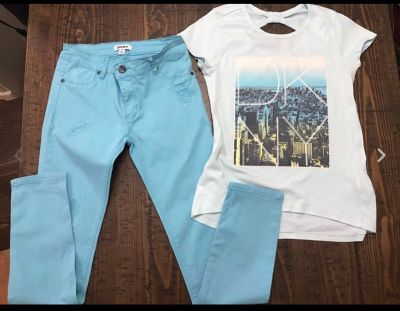 Girl s DKNY Outfit Blue- Shirt & Pants Size L- 14