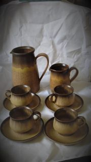 Denby English stoneware pottery romany brown pattern 10 piece set