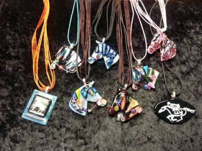 Fused Glass Horse Necklaces