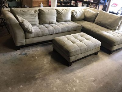 Microfiber Sectional Couch/Sofa with Ottoman
