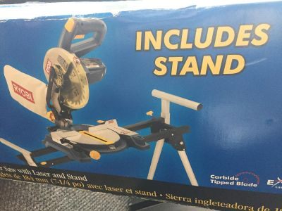 "New in box Ryobi 7 1/4"" miter saw w/ laser and stand"