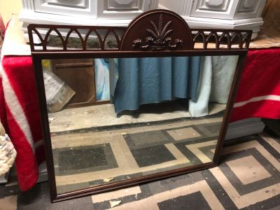 "GORGEOUS Wood mirroir-42""x40""- perfect for top of dresser-10$"
