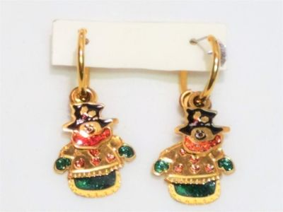 Gold Tone Christmas Snow Man Tree Holidays Red Green Earrings Drop Dangle Post