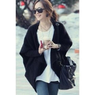 Black Batwing Sleeve Cape Open Front Knitted Cardigan