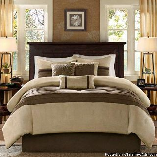 Madison Park Palmer 7 Piece Comforter Set Natural Queen Pieced Microsuede Includes 1 Comforter, 3 Decorative Pillows, 1 Bed Skirt, 2 Shams