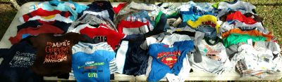 75 pieces boys baby clothes, ranging 6 mos to 18 mos