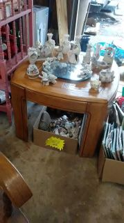 Great wood table $20. Yard sale today till 8pm.