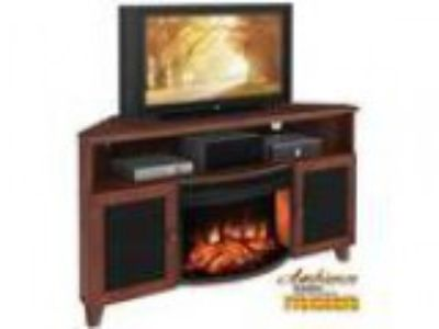 Shaker Style Corner quot TV Stand with Curved Electric Firepl