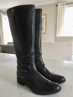Ladies Black All Leather Boots - Size 8