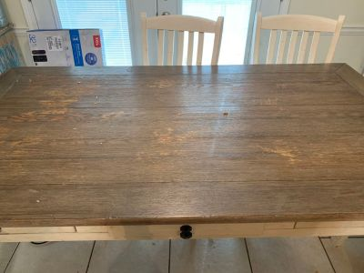 Farmhouse style kitchen table with 6 chairs