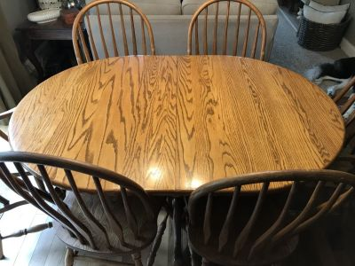 Solid oak kitchen table 6 chairs
