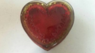 Vintage heart shaped glass trinket box