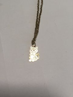 Gold Kitten Cat Necklace Charm