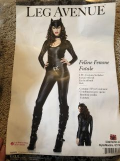 Cat Women costume. Brand new, never worn! Come with all you see, except boots. Headpiece, belt, catsuit w/ tail and neck band. Size Large