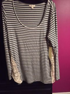 Grey and cream stripped shirt with cream lace