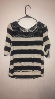 Black & White Striped Top with Lace