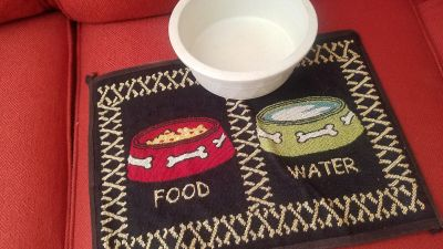 Placemat for dog food and water bowls