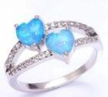 New - Blue Fire Opal Hearts Ring - Size 7
