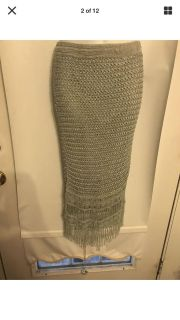 Cache Size Small Gorgeous Crochet & Beaded Lined Powder Blue Stretch Knit Skirt
