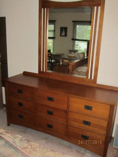 Mission Style long dresser with mirror