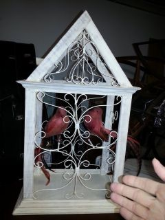 Decorative Bird Cage with two Feathered Friends - no feeding necessary :)