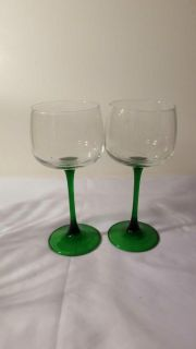 7 inch clear and green stem glasses