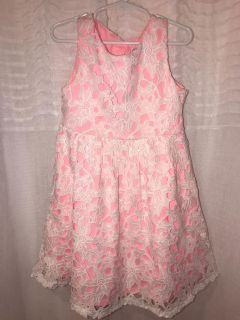 Rare Editions Girls pink/white lace dress