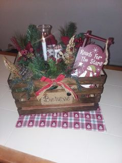Large Wood crate Christmas decoration or centerpiece with battery operated lattern can move and rearrange pieces