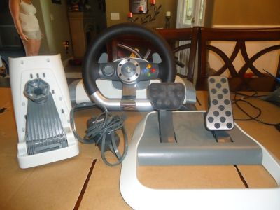 official microsoft xbox 360 wireless racing wheel and pedals w/ force feedback