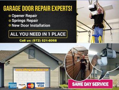 24/7 Garage Door Spring Repair & Replacement $25.95 | Allen Dallas, 75071 TX