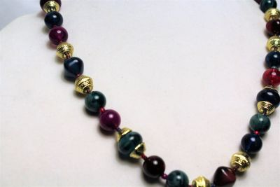 "Green Red Purple Plastic Bead Gold Tone 24"" Chain Strand Statement Necklace"