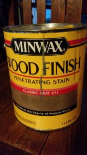 Almost full gallon of gray wood stain