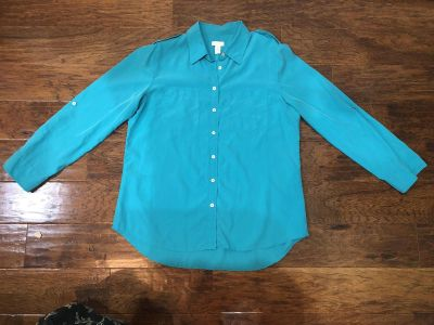 Chico s Size 2 Teal Blouse in EUC!!!