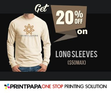 Get 20% discount (max $50) on long sleeve cotton and blend t-shirts