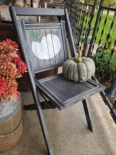 Hand painted pumpkin on a vintage chair green pumpkin included