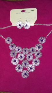 Silvertone and Purple Stone Necklace and Earrings Set