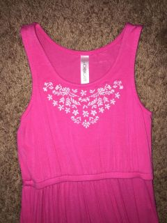 Pink maxi dress with embroidered neckline Sz Small