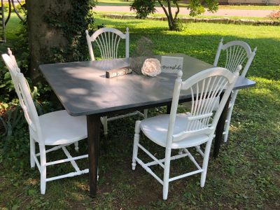 Beautiful Farmhouse Style/ Shabby Chic Table & 4 Chairs- Solid Wood