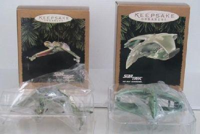 2 New Hallmark Star Trek Ornaments Klingon 94 / Romulan 95