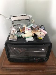 Polymer clay books, stove and 25 blocks of clay