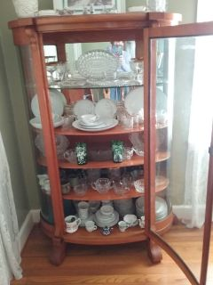Antique China Cabinet with 100 pieces of China