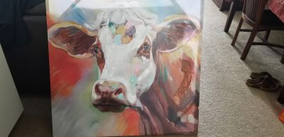 A very nice Cow canvas paint $100