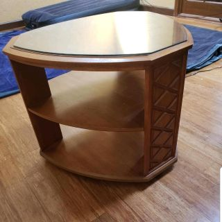Beautiful Vintage Large End Table Wood/Glass